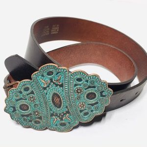 Anthropologie Boho Turquoise Buckle Leather Belt S
